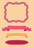 Διάνυσμα που τίθεται για τη διακόσμηση - κορδέλλες και πλαίσιο Στοκ Εικόνα