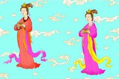 Διάνυσμα που τίθεται για τις κινεζικές γυναίκες απεικόνιση αποθεμάτων