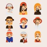 Διάνυσμα που τίθεται με τα θηλυκά είδωλα hipster που χαμογελούν και που προσέχουν στο θεατή Φωτεινοί χαρακτήρες με το διάφορα hai ελεύθερη απεικόνιση δικαιώματος