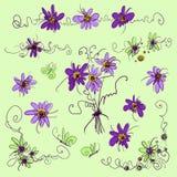 Διάνυσμα που τίθεται με τα λουλούδια και τις μπούκλες Διανυσματική απεικόνιση