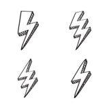 Διάνυσμα που τίθεται με τα σημάδια μπουλονιών αστραπής στο κωμικό ύφος Στοκ Εικόνα