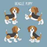 Διάνυσμα που τίθεται με τα χαριτωμένα κουτάβια σκυλιών κινούμενων σχεδίων Στοκ Φωτογραφία