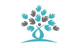 Διάνυσμα προτύπων σχεδίου λογότυπων χεριών δέντρων απεικόνιση αποθεμάτων