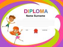 Διάνυσμα προτύπων σχεδίου υποβάθρου πιστοποιητικών διπλωμάτων παιδιών ελεύθερη απεικόνιση δικαιώματος