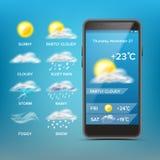 Διάνυσμα πρόγνωσης καιρού App Αγαθό για τη χρήση στο κινητό τηλέφωνο App Προβλέψτε το κράτος της ατμόσφαιρας για μια δεδομένη θέσ διανυσματική απεικόνιση