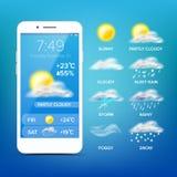 Διάνυσμα πρόγνωσης καιρού App Ρεαλιστική οθόνη Smartphone Καιρός App με τα εικονίδια απεικόνιση στοιχείων σχεδίου απεικόνιση αποθεμάτων