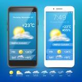 Διάνυσμα πρόγνωσης καιρού App Ρεαλιστικό smartphone Καιρός App με τα εικονίδια τα εικονίδια που τίθεντ&alpha πρόσκληση συγχαρητηρ Απεικόνιση αποθεμάτων