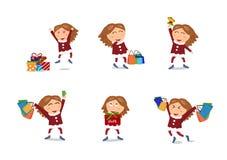 Διάνυσμα, πώληση, Χριστούγεννα και καλή χρονιά χαρακτήρων κοριτσιών shopp απεικόνιση αποθεμάτων
