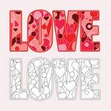 Διάνυσμα σελίδων χρωματισμού αγάπης Στοκ εικόνες με δικαίωμα ελεύθερης χρήσης
