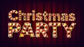 Διάνυσμα σημαδιών γιορτής Χριστουγέννων Φως σκηνών πηγών Καρναβάλι, τσίρκο, ύφος χαρτοπαικτικών λεσχών Αφίσα, ιπτάμενο, ευχετήρια ελεύθερη απεικόνιση δικαιώματος