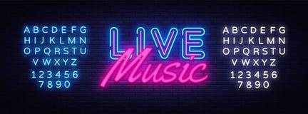 Διάνυσμα σημαδιών νέου ζωντανής μουσικής Σημάδι νέου προτύπων σχεδίου ζωντανής μουσικής, ελαφρύ έμβλημα, πινακίδα νέου, νυχτερινό διανυσματική απεικόνιση