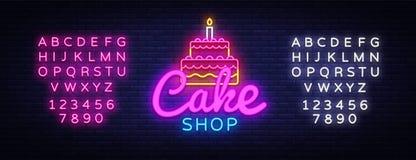 Διάνυσμα σημαδιών νέου καταστημάτων κέικ Σημάδι νέου προτύπων σχεδίου καταστημάτων γλυκών, ελαφρύ έμβλημα, πινακίδα νέου, νυχτερι διανυσματική απεικόνιση