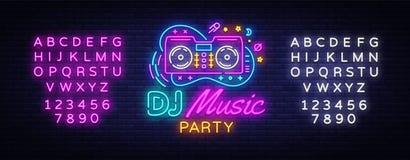 Διάνυσμα σημαδιών νέου μουσικής του DJ Σημάδι νέου προτύπων σχεδίου κόμματος νύχτας, ήχος του DJ που διαφημίζει το ελαφρύ έμβλημα διανυσματική απεικόνιση