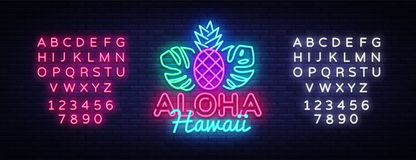 Διάνυσμα σημαδιών νέου Aloha Σημάδι νέου προτύπων σχεδίου της Χαβάης Aloha, θερινό ελαφρύ έμβλημα, πινακίδα νέου, νυχτερινός φωτε διανυσματική απεικόνιση