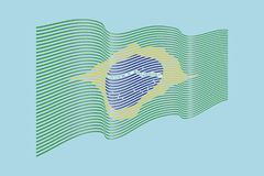 Διάνυσμα σημαιών της Βραζιλίας στο μπλε υπόβαθρο Σημαία λωρίδων κυμάτων, γραμμή ι απεικόνιση αποθεμάτων