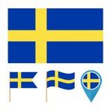 Διάνυσμα σημαιών της Σουηδίας, χώρα Στοκ Εικόνα