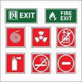 Διάνυσμα σημαδιών εξοπλισμού πυρκαγιάς Στοκ Εικόνες