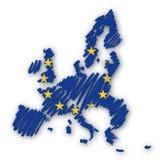 διάνυσμα σκίτσων χαρτών της Ευρώπης Στοκ Φωτογραφίες