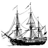 Διάνυσμα σκαφών πειρατών, Eps, λογότυπο, εικονίδιο, απεικόνιση σκιαγραφιών από τα crafteroks για τις διαφορετικές χρήσεις Επισκεφ απεικόνιση αποθεμάτων