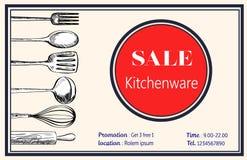 Διάνυσμα σκευών για την κουζίνα φυλλάδιων πώλησης namecard doodle Στοκ Φωτογραφίες