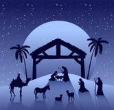 Διάνυσμα σκηνής Nativity κάτω από τον έναστρο ουρανό Στοκ φωτογραφία με δικαίωμα ελεύθερης χρήσης
