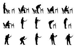 διάνυσμα σκιαγραφιών ατόμων lap-top Στοκ φωτογραφία με δικαίωμα ελεύθερης χρήσης