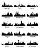 Διάνυσμα 15 σκιαγραφιών πόλεων ελεύθερη απεικόνιση δικαιώματος