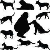 Διάνυσμα σκιαγραφιών σκυλιών Στοκ Φωτογραφίες