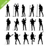 Διάνυσμα σκιαγραφιών τραγουδιστών και μουσικών διανυσματική απεικόνιση
