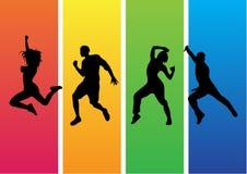 Διάνυσμα σκιαγραφιών χορού Zumba Στοκ φωτογραφία με δικαίωμα ελεύθερης χρήσης