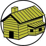διάνυσμα σπιτιών καπνοδόχων καμπινών ξύλινο Στοκ Εικόνες