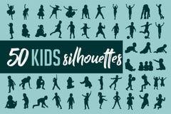 Διάνυσμα συλλογής σκιαγραφιών παιδιών διανυσματική απεικόνιση