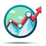 Διάνυσμα συμβόλων εικονιδίων χρηματιστηρίου βουνών Στοκ Εικόνα