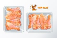 Διάνυσμα συσκευασίας πολυστυρολίου ποδιών κοτόπουλου Στοκ Εικόνες