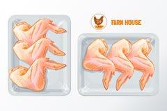 Διάνυσμα συσκευασίας πολυστυρολίου φτερών κοτόπουλου Στοκ Εικόνα