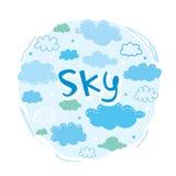 Διάνυσμα συλλογής ουρανού και σύννεφων ελεύθερη απεικόνιση δικαιώματος