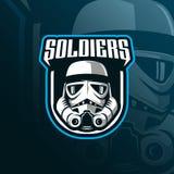Διάνυσμα σχεδίου λογότυπων μασκότ στρατιωτών με το σύγχρονο ύφος έννοιας απεικόνισης για την εκτύπωση διακριτικών, εμβλημάτων και διανυσματική απεικόνιση