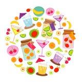 Διάνυσμα σχεδίου κινούμενων σχεδίων περικοπών φρούτων και ποτών διανυσματική απεικόνιση