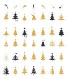 Διάνυσμα σχεδίου σκιαγραφιών χριστουγεννιάτικων δέντρων Στοκ Φωτογραφία