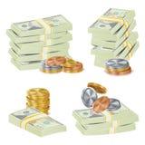 Διάνυσμα σωρών τραπεζογραμματίων χρημάτων τρισδιάστατα μετρητά, χρυσά νομίσματα, απεικόνιση σωρών τραπεζογραμματίων ελεύθερη απεικόνιση δικαιώματος