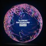 Διάνυσμα σύνθεσης σφαιρών γραμμών χρώματος abstract background glowing Στοκ Φωτογραφίες