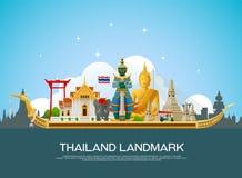 Διάνυσμα ταξιδιού ορόσημων της Ταϊλάνδης Στοκ Φωτογραφία
