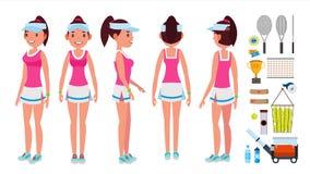 Διάνυσμα τενιστών κοριτσιών Αθλητισμός ομοιόμορφος Παίκτες που παίζουν με τη ρακέτα αντισφαίρισης Στη δράση Απομονωμένος επίπεδος διανυσματική απεικόνιση