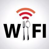Διάνυσμα της θέσης ελεύθερο WiFi εστιατορίων Στοκ Εικόνα