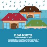 Διάνυσμα της καταστροφής πλημμυρών απεικόνιση αποθεμάτων