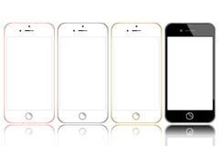 Διάνυσμα της μαύρης άσπρος-γκρίζας χρυσής ρόδινος-χρυσής σύγχρονης ρεαλιστικής συσκευής smartphone που απομονώνεται στοκ εικόνες με δικαίωμα ελεύθερης χρήσης