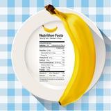 Διάνυσμα της μπανάνας γεγονότων διατροφής Στοκ Φωτογραφία