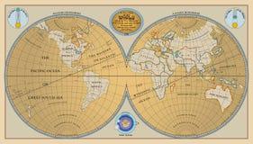 Διάνυσμα της παλαιάς σφαίρας, χάρτης του κόσμου με τις νέες ανακαλύψεις 1799 Στοκ Εικόνες