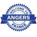 Διάνυσμα της ΥΠΟΔΟΧΗΣ στη χώρα ΓΑΛΛΙΑ της ANGERS πόλεων γραμματόσημο sticker Ύφος Grunge EPS8 Στοκ Εικόνα