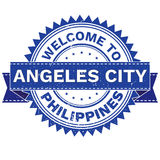 Διάνυσμα της ΥΠΟΔΟΧΗΣ στη χώρα ΦΙΛΙΠΠΙΝΕΣ της ANGELES CITY πόλεων γραμματόσημο sticker Ύφος Grunge EPS8 Στοκ Φωτογραφίες